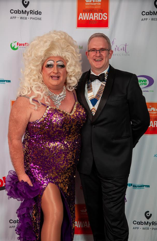 Host Davina Sparkle and Nathan Chart, Chair of the Hoteliers Association and GM of Best Western Chilworth Manor